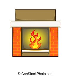 Fireplace icon, cartoon style - Fireplace icon. Cartoon...