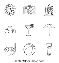 Travel to sea icons set, outline style - Travel to sea icons...