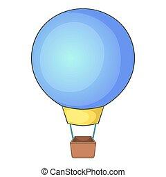 icono, globo, vuelo, estilo, caricatura