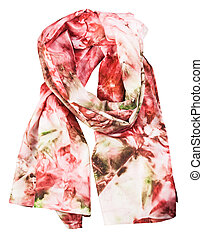 wrapped silk scarf with abstract red pattern - wrapped silk...
