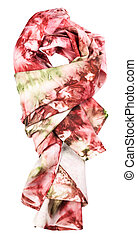 knotted silk scarf with abstract red ornament - knotted silk...