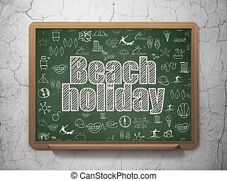 Vacation concept: Beach Holiday on School board background -...