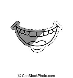 Mouth laughing cartoon icon vector illustration graphic...