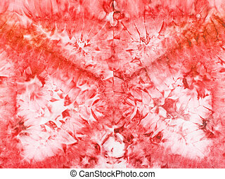 abstract red pattern on silk batik - textile background -...