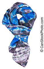 knotted silk scarf with abstract blue pattern hand painted...