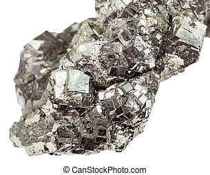 marcasite (white iron pyrite) close up isolated - macro...