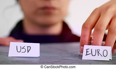 USD vs Euro concept - US dollars vs Euro financial strategy...