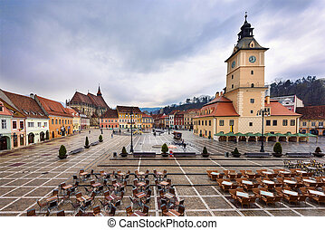 Photo of Brasov downtown square and streets with the famous...