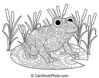 Frog on a lily in the swamp coloring book for adults vector