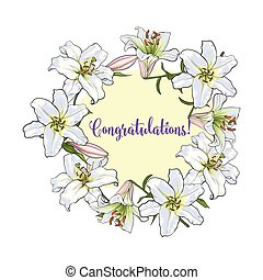 Greeting card template with round frame of white lily flowers