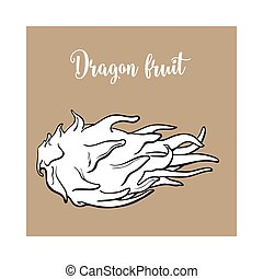 Whole unpeeled, uncut dragon fruit in horizontal position,...