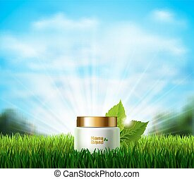 Bottle of cream on the fresh green glade with grass. Eco...