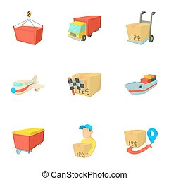 Shipment icons set, cartoon style - Shipment icons set....