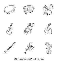 estilo, contorno, iconos, Conjunto, Música, herramientas