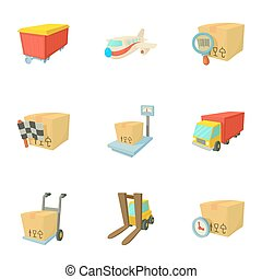 Transportation icons set, cartoon style - Transportation...