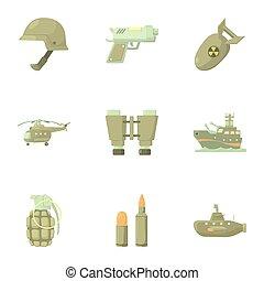 armas, jogo, estilo, caricatura, ícones