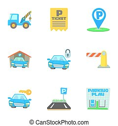 Valet parking icons set, cartoon style - Valet parking icons...