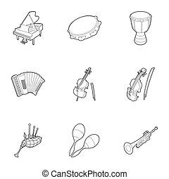 estilo, contorno, iconos, Conjunto, Música, Dispositivo