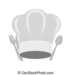 symbol fork and knife with chef hat