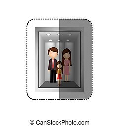 elevator with people inside icon image, vector illustration