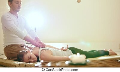 Professional thai massage - attracive girl - stretch the...