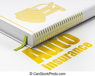 Insurance concept: book Car And Shield, Auto Insurance on white background