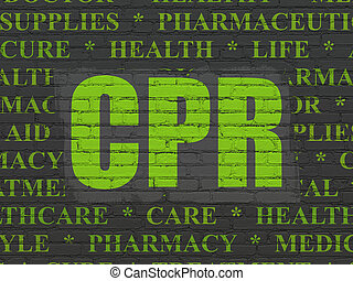 Medicine concept: CPR on wall background - Medicine concept:...