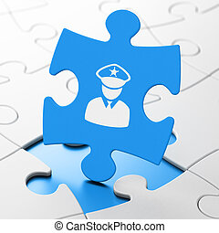 Law concept: Police on puzzle background - Law concept:...