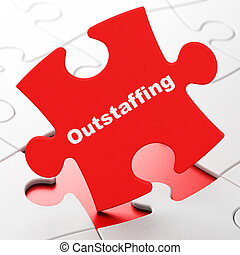 Finance concept: Outstaffing on puzzle background - Finance...