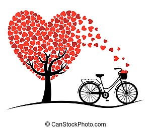 Valentine card. Bicycle and love Tree