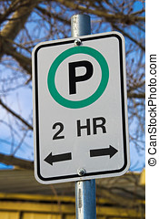 Two Hour Parking Sign with Allowable Directions