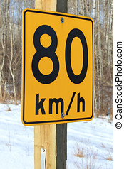 Eighty Kilometer Per Hour Recommended Sign