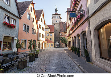 Town Rothenburg ob der Tauber, a town in the district of...