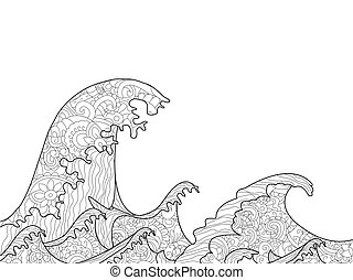 The Great Wave off Kanagawa coloring book for adults vector...
