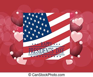 Presidents Day. Greeting card or invitation. USA flag on the...