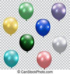 Set of celebratory balloons. Realistic, semi-transparent, colorful. Checkered background. illustration