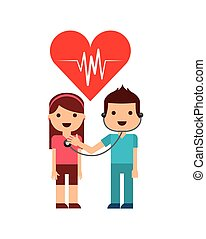 medical doctor man with woman patient over white background....