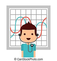 medical doctor man and graphic charts over white background....