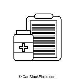 medical equipment design - medical report and pills icon...