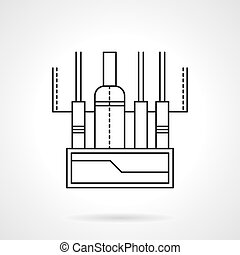 Audio mixing console flat line vector icon