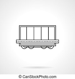 Rail platform with container flat line vector icon -...
