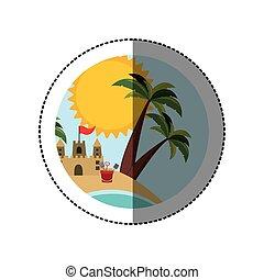 symbol beach with castle icon