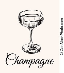 Champagne Glass Hand Drawing Vector Illustration . Alcoholic...