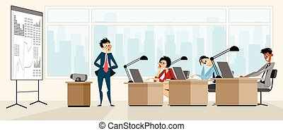 Lecturer provides training - Vector illustration of a...