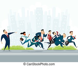 Many businessmen hurry - Vector illustration of a many...