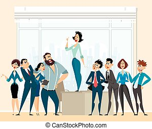 Debate in business - Vector illustration of a debate in...
