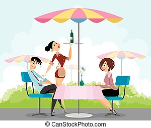 Pals in summer cafe - Vector illustration of a pals in...