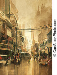city street view in vintage retro style - painting of city...