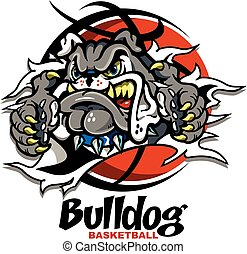 bulldog basketball mascot ripping through the background for...