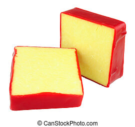Monterey Jack Cheese - Monterey Jack cheese squares with red...